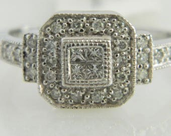 Beautiful 10K White Gold Diamond Engagement Ring