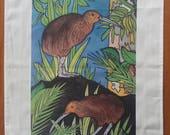 "Tea Towel / Kitchen Towel by New Zealand Artist Jo May, "" Kiwi and Kauri"" 78cm x 52cm, 100% cotton"