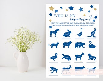 Who is my mama? printable game, Gold navy star baby shower game, baby animal game, gold and navy, baby boy girl, INSTANT DOWNLOAD 006