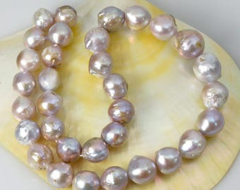 384 ct Kasumi Multi-Color FRESHWATER PEARLS 16.1 inch STRAND Nucleated Baroque