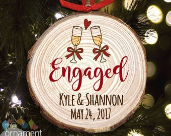 Engagement cut pine wood Christmas ornament - great gift for newly engaged couple MWO-008