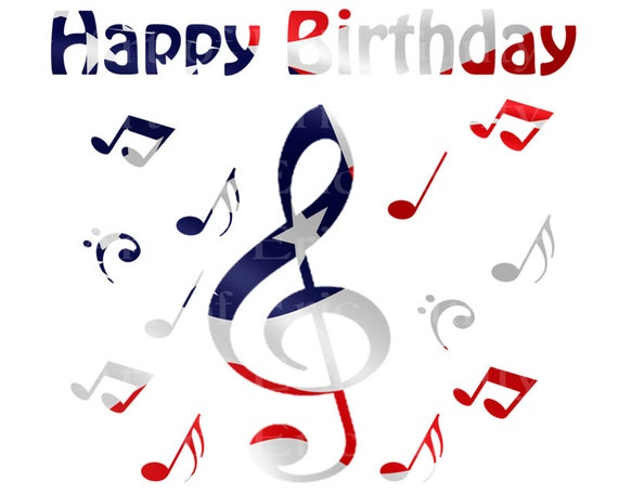 Band Music Notes Patriotic Happy Birthday - Edible Cake and Cupcake Topper For Birthday's and Parties! - D22720