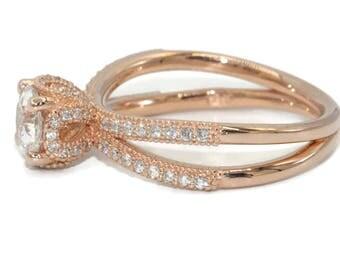 Diamond Wedding Ring, Engagement Diamond Rings, Disney Princess Inspired Ring, Rose Gold Wedding Ring, custom made by Irina