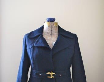 Classic Navy Trench Coat with scalloped waistline (Copenhagen designed)