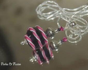 Lampwork Glass pendant * cherry * purple/pink/white - delicious - Lampwork Glass - silver