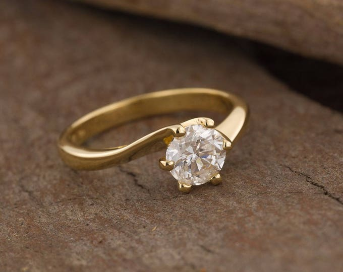 ON SALE!!! Solitaire engagement ring 1 ct-Solitaire ring-Yellow gold ring-Women Jewelry-Promise ring-Bridal Jewelry-Art deco engagement ring