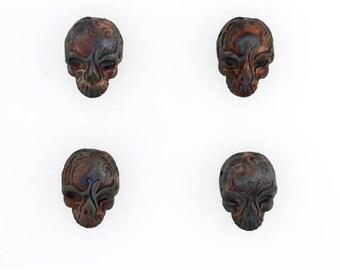Multicolored Matte Raku 3-D Flat Skull Ceramic Beads