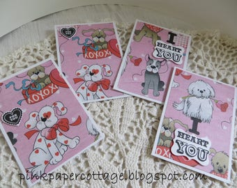 "Valentine's Day set of 4 doggie cards, pink, red, gray, black, white, blue, glitter, 3-1/2 x 5"", w/ coordinating envelopes."
