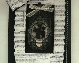 Music hand made 3D card / love