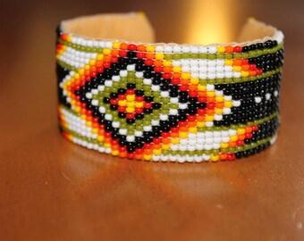 Ethnic bracelet beads handwoven colors red orange