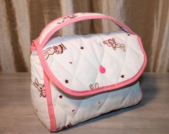 vanity, suitcase, practical, with inside pocket, padded fabric for girl