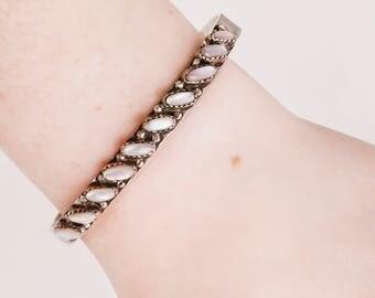 Vintage Cuff - Vintage Sterling Silver Abalone Cuff Bracelet