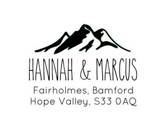 "Mountain Theme Address Stamp, personalized stamp, return address stamp, envelope stamp, wedding stationery, RSVP stamp, 2""x 1.5"" (cas109)"
