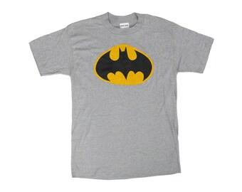 Vintage Batman Logo Bootleg Grey T-Shirt Large 50/50 Deadstock NWOT DC Comics 80s 90s