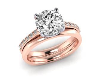 Rose and White Gold Engagement Rings, 14K Rose & White Gold Wedding Ring Set, Charles Colvard Forever Brilliant Moissanite, Natural Diamonds