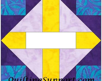 The Crossing 15 Inch Block Paper Template Quilting Block Pattern PDF