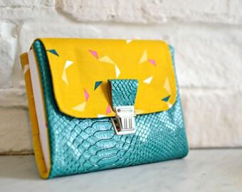 Agenda 2017-2018, diary woman, diary of bag, imitation leather dragon emerald and cotton mustard geometric pattern, agenda back, agenda 2017