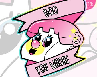"Mean Girls X Power Puff Girls ""Boo You Whore"" Holographic Sticker"