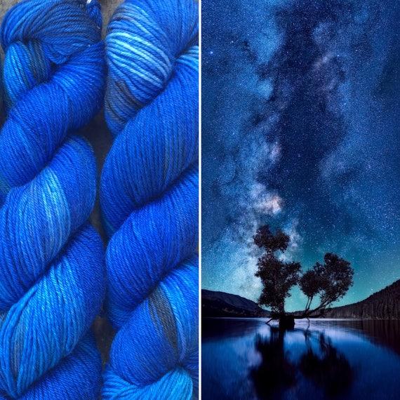 Night Sky DK, indie dyed blue grey merino nylon yarn