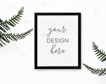 "Tropical Leaves Frame Mockup on Desk / Styled Stock Photography / 8""x10"" Frame PSD smart object and PNG / Styled Desk with Frame For Art"