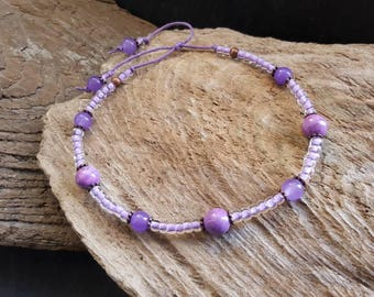Lilac Toho Seed Bead & Copper Bead Ankle Bracelet, Waxed Cotton Cord Adjustable Bohemian Beaded Anklet, Healing Gemstone Anklet, Boho Hippy