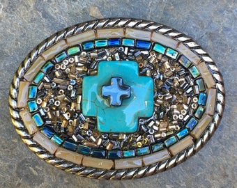 Cross belt buckle embellished belt buckle Rustic antique silver czech glass beads turquoise mens belt buckle women's  beaded belt buc