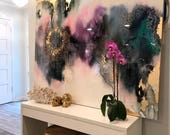 """Sold! Art Large Canvas Painting Gray, Purple, Pink Green, Blue Gold Ikat Ombre Glitter with Glass and Resin Coat 48"""" x 60"""" real gold leaf"""