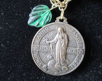 "Catholic Medal - Mother Mary - 1950s, Jewelry, Love, Necklace, Glass Hearts - 1"" by 1"" Mary on one side-Pope on opposite - 18"" on Nice Chain"