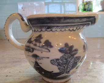 """Blue and White China, Chinese Pottery,  Very Old & Rare Chinese Creamer - Marked """"China"""" on Bottom - In good Condition."""