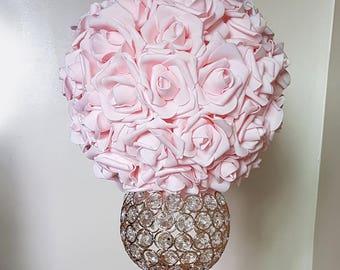 Blush Rose Pomander,  Flower Ball, Pink Kissing Ball