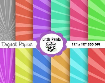 80% OFF SALE Sun Rays Digital Paper Pack, Scrapbook Papers, 12 jpg files 12 x 12 - Instant Download - D102
