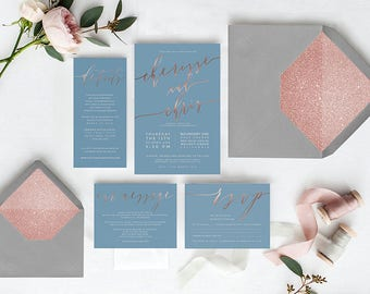 Wedding Invitations in Niagara Blue and Rose Gold Calligraphy