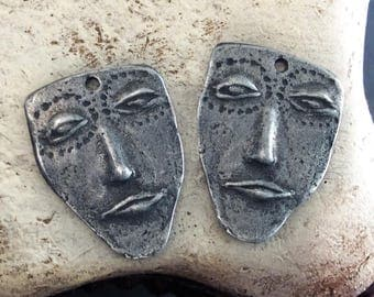 Handmade Face Charms, Artisan, Handcrafted, Jewelry Supplies No. 606CD