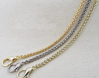 1 PCS, 100 - 150 cm / 33 - 60 inches Length, 4 mm Width, Gold Rose Gold Silver Purse Bag Chain w/ Clasps