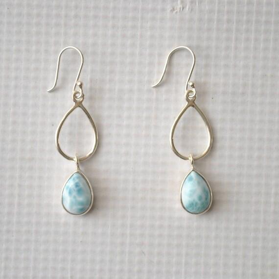 Sterling Silver Larimar Dangling Teardrop Earrings #9062