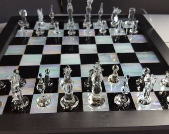 hand made, lampworked glass, chess set, unique glass art