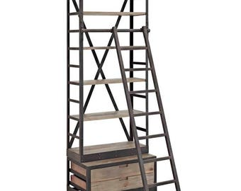Library Reclaimed Wood Bookshelf with Ladder