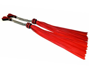 Set of Red Leather Poi Floggers - Florentine Flogger Set - You Choice of Knot Colours
