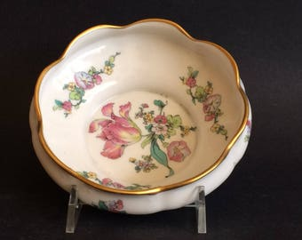 Fine Concorde CHINA BOWL, Spring Tulip Bouquet, Made in USA, Footed Bowl w Gold, Scalloped Edge Bowl, Floral China Bowl, Candy Nut Bowl