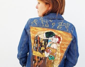 Handpainted  unique jean jacket art jacket Gustav Klimt The Kiss  gift for her gift for him art clothing unique jacket