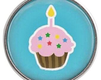 C1018  Art Glass Print Chunk - Birthday Cupcake