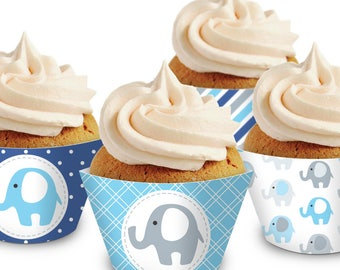 Blue Elephant Cupcake Wrappers. Printable Cupcake Wraps. Baby Boy Covers. Baby Cupcake Decor. Navy Blue Baby Shower Decorations