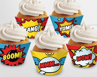 Superhero Cupcake Wrappers. Printable Cupcake Wraps. Gender Neutral Covers. Baby Cupcake Decor. Kids Birthday - Baby Shower Decorations