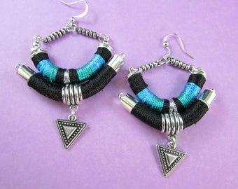 Tribal earrings, Geometric earrings,Ethnic earrings,Bohemian earrings,Bold earrings,OOAK earrings, punk earrings,edgy earrings