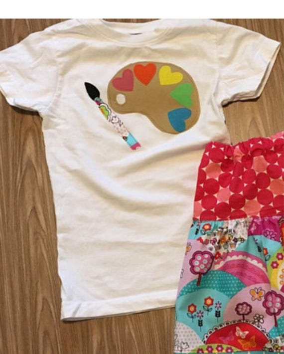 Little artist shirt, Paint palette shirt, art theme birthday, girls birthday hearts and art, girls birthday party clothes, inspire, create
