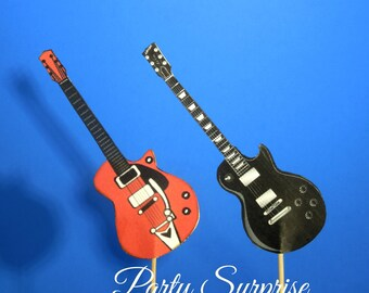 Guitar Cupcake Toppers Electric Guitar Rock n Roll Music Party Guitar decorations