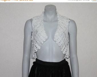 ON SALE Romantic White Crocheted Womens  Vest  Wedding Lace Bolero   Crochet Shrug Sleeveless Summer Top Small to Medium Size