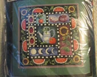 SUNSET Needlepoint Kit # 12113 GARDEN GIFTS Olson 1995 pillow front Watermelons, ladybugs