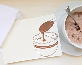 Hot chocolate card - Gift for chocoholics - for chocolate lover - Flat notecard - Gift for baker - Kitchen art - Letterpress notecard