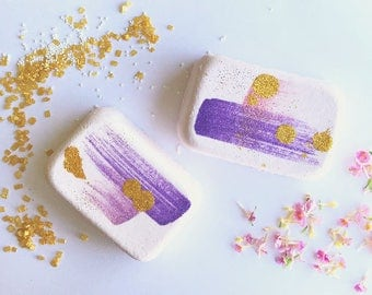 Lavender blossom bath bomb - essential oil bathbomb, natural bath bomb, sparkle bath bomb, purple bath bomb, calming bath bomb